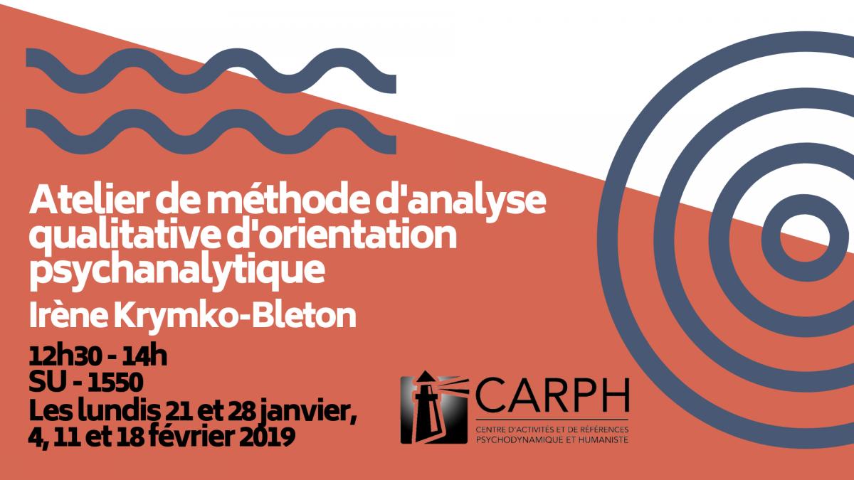 Atelier de méthode de recherche qualitative d'orientation psychanalytique, par Irène Krymko-Bleton