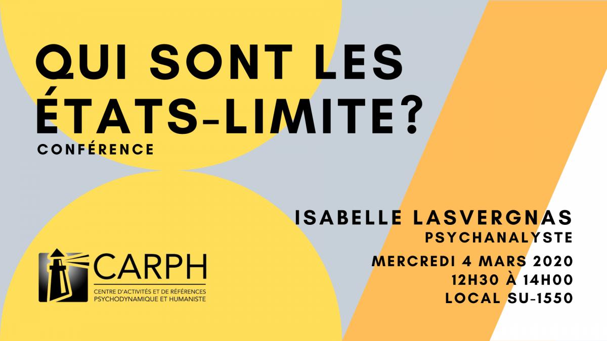 Qui sont les états limites? Conférence d'Isabelle Lasvergnas