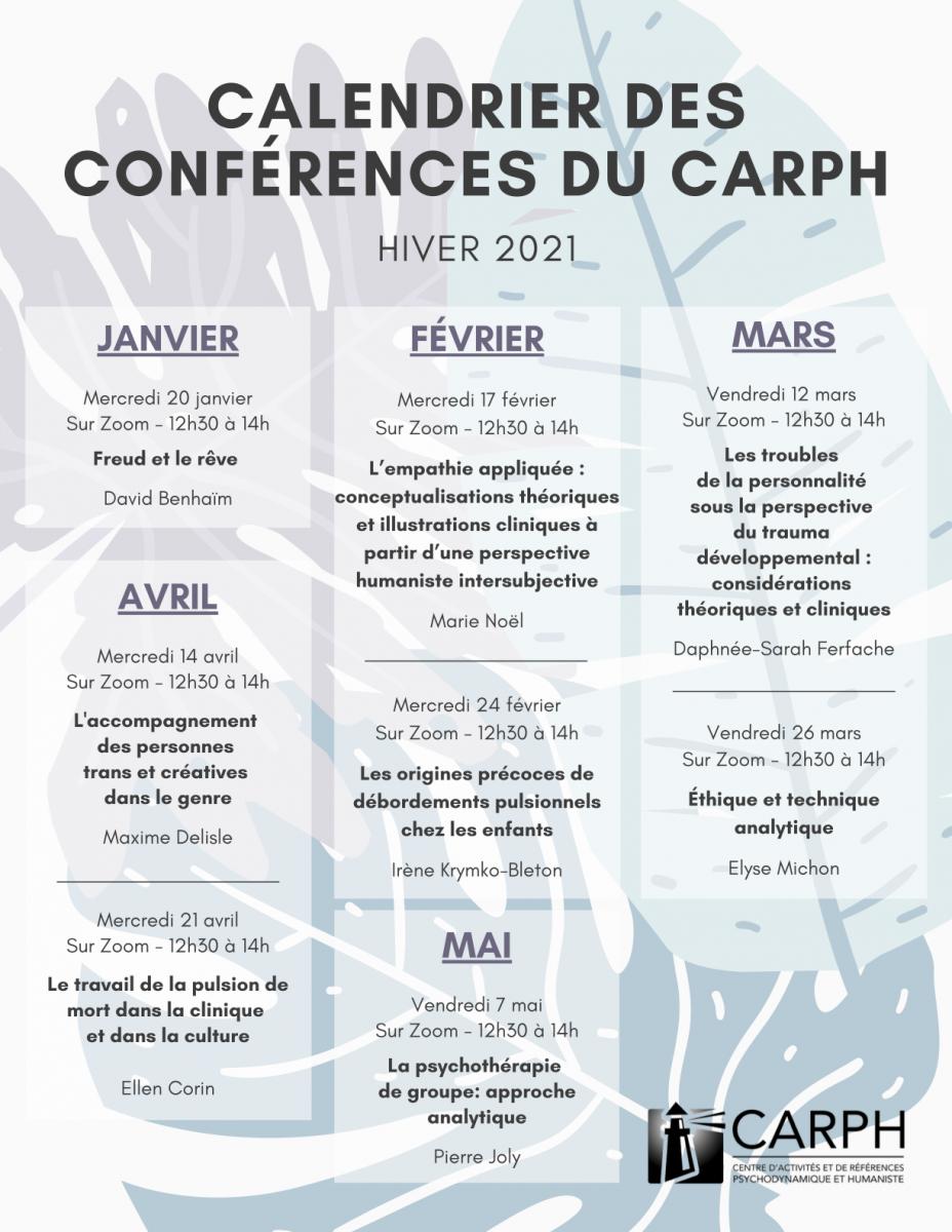 Programme des conférences du CARPH, hiver 2021